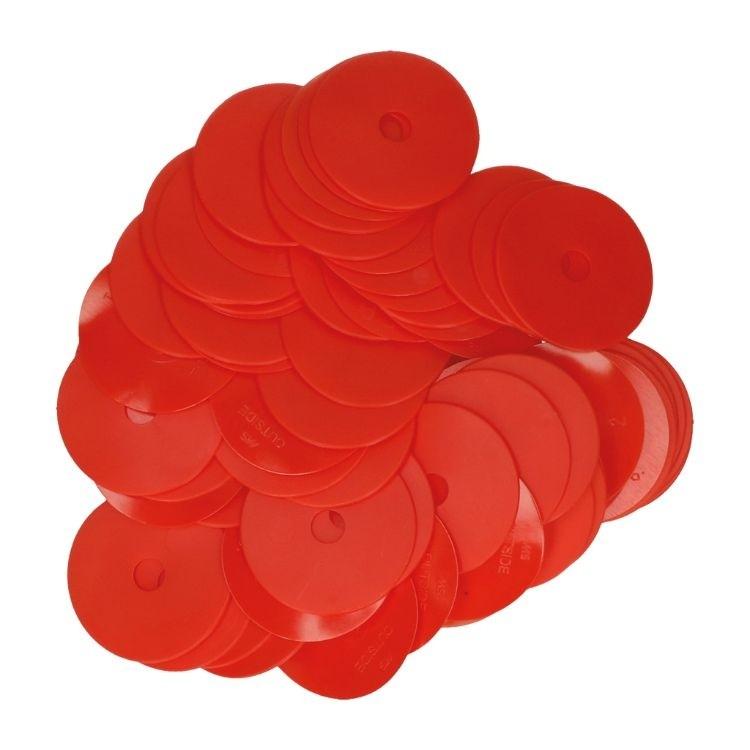 Oorplaatjes rood, set à 100 stuks